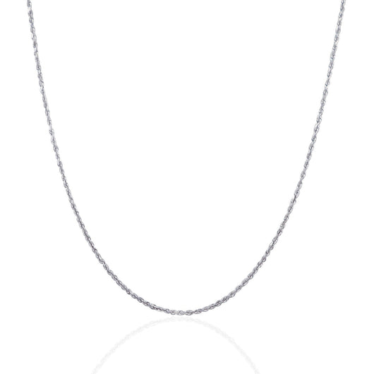 1.25mm 14K White Gold Solid Diamond Cut Rope Chain