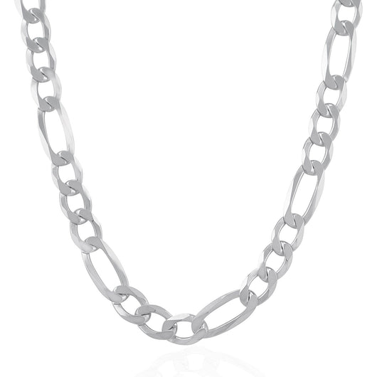 Rhodium Plated 9.5mm 925 Sterling Silver Figaro Style Chain