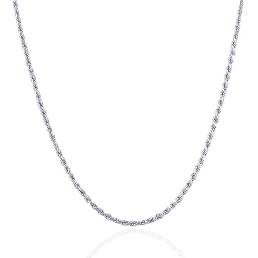 2.5mm 14K White Gold Solid Diamond Cut Rope Chain
