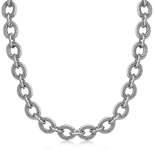 Sterling Silver Chain  Rhodium Plated Necklace with Diamond Cuts (39.0g)