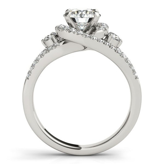 14K White Gold Split Shank Halo Bypass Round Diamond Engagement Ring (1 3/4 ct. tw.)