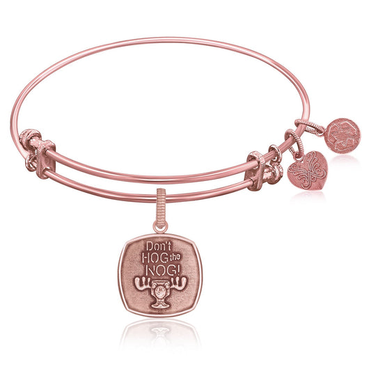 Expandable Bangle in Pink Tone Brass with Don't Hog The Nog Symbol