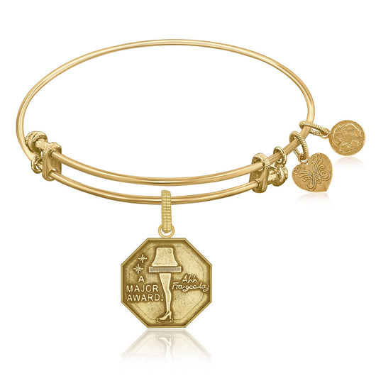 Expandable Bangle in Yellow Tone Brass with Leg Lamp AKA A Major Award Symbol