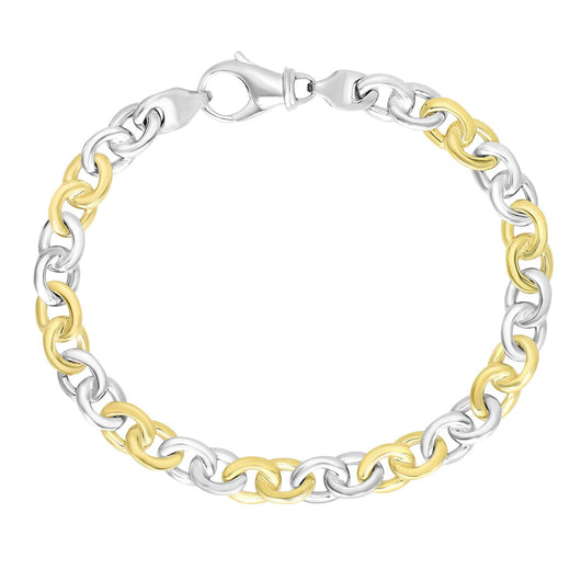14K Two-Tone Gold Men's Cable Chain Style Bracelet