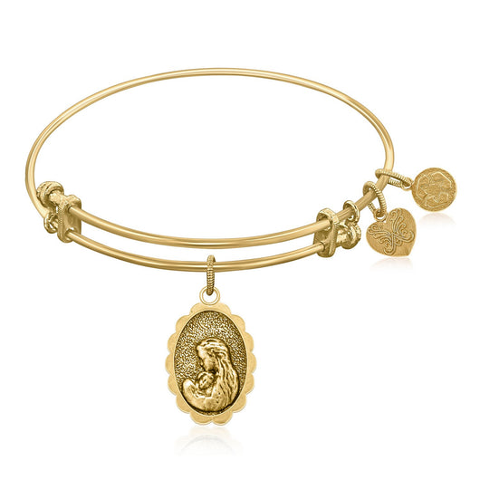 Expandable Bangle in Yellow Tone Brass with Mother's Love Symbol