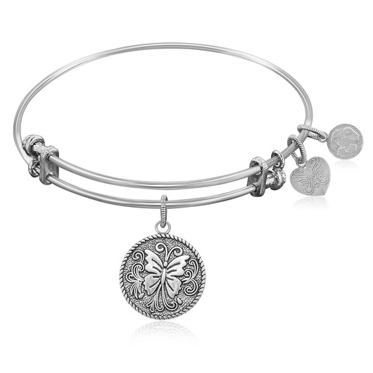 Expandable Bangle in White Tone Brass with Butterfly Transformation Symbol