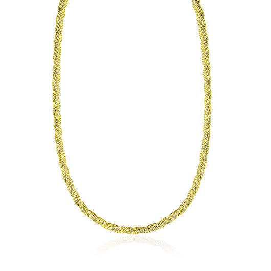 14K Yellow Gold Fox Chain Necklace with a Braided Design