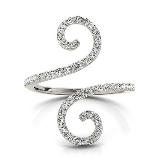 14K White Gold Diamond Open Flourish Style Ring (1/2 ct. tw.)