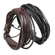 HOT Wrap Leather Bracelets Bangles for Men  Black and Brown Braided Rope
