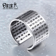 Ring For Man Stainless Steel Chinese Style Buddhism Sutra - 1021st