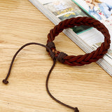 New Simple Style Bracelet Hemp Rope Braided Leather Chain - 1021st
