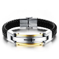 Cross Leather Rope Chain Stainless Steel Bracelet Vintage Bangles - 1021st