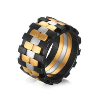 316L Stainless Steel 3 tone Mens Rings Band  Silver Black and Gold Design - 1021st