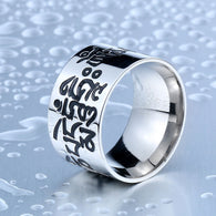 High Polished Stainless Steel Buddhism Mantra Ring Bring Lucky - 1021st
