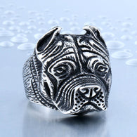316L Stainless Steel Titanium Animal Pit Bull Dog Ring Men Personality - 1021st
