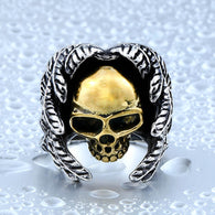 Cool Plated Winged Skull Ring For Man Stainless Steel - 1021st