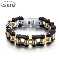 Mens motorcycle chain bracelets,16mm wide stainless steel with 18k Gold Plated