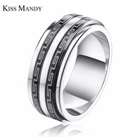8mm Silver and Black 316L Stainless Steel Ring - 1021st