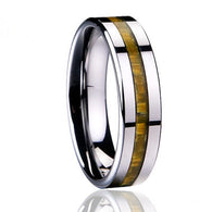 8MM Silver Mens Ring Tungsten Carbide Yellow Carbon Fiber - 1021st