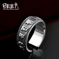 Stainless Steel Simple Ring  buddhist sutra ring - 1021st