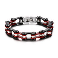 New Cool Men Jewelry Stainless Steel Fashion Mix Color Biker Chain Bracelet For Men - 1021st