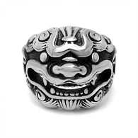 Titanium Stainless Steel  Silver Men Ring Chinese Dragon Animal Kylin - 1021st