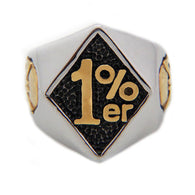 RN2782 New Outlaw Biker One pencenter 1%er Ring for Men With Skull Fashion Motorcycle Club Jewelry Gold and Silver Ring - 1021st