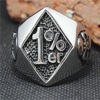Mens 316L Stainless Steel Cool  Silver Cool Skull Silver 1%er Ring - 1021st