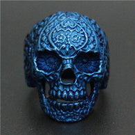 new Size 8~14 Cool Fashion Flower Blue Skull Head Ring 316L Stainless Steel Biker Style Ghost Skull Ring - 1021st