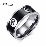 8mm Wide  Yin Yang Black and White Ring Buddhist Tao Balance Ring - 1021st