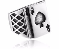 316L Stainless Steel ring Lucky Playing Card Ring - 1021st