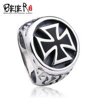 Beier 925 silver sterling jewelry2015 black coating iron cross model ring personality  finger man ring  D0677 - 1021st
