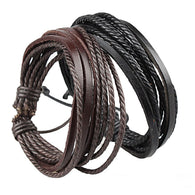 Hot Brand Fashion Men Black And Brown Braided Rope Bangles Faux Leather
