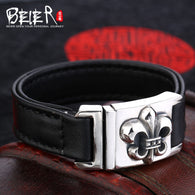 Beier  925 silver sterling  Top layer leather  bracelet for men Chrome Hearts Fine Jewelry  B925R024 - 1021st