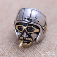 Black silver jewelry wholesale 925 Sterling Silver Vintage Silver head uncle Mens Ring xh053535w - 1021st