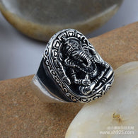 925 Sterling Silver Jewelry Vintage Silver Mammon ring Ganesh Mens Ring xh024556w - 1021st