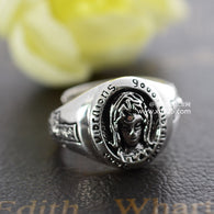 Black silver jewelry wholesale 925 Sterling Silver Ring Mens Silver Notre Dame Maria Mens woman 032881w - 1021st