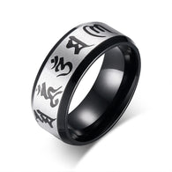 Traditional Om Mani Padme Hum Men Ring Black Color Wedding Rings For Men Jewelry Stainless Steel Ring - 1021st