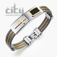 Casual Steel Male Classical Bracelets Stainless Steel Cross Design - 1021st