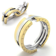 Men Stainless Steel Gold Deformation Movable Ring Jewelry - 1021st