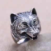 2016 New Real Bands Classic Men Party Rings Anillos Sapphire Jewelry 925 Sterling Jewelry Fashion Mens Ring Ferocious Wolf - 1021st