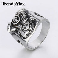 new Cool Punk Silver Tone Motorcycle Engine Skull Ring - 1021st