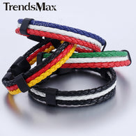 12mm X 8inch National Flag Style Rope Surfer Leather Bracelet - 1021st