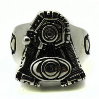 New Band Party 316L Stainless Steel Biker Engine Mens Ring - 1021st