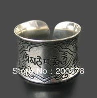 Tibetan Mantras Rings Metal Alloy OM MANI PADME HUM Open Ring for Man - 1021st