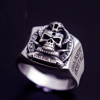 925 Thai silver men's rings Vintage Cobra Thai silver ring jewelry 925 sterling silver skull ring - 1021st
