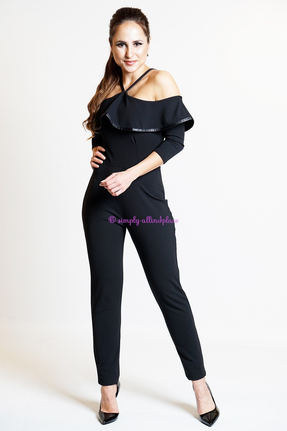 Lizette Satin Edge Frill Jumpsuit (Stock Item)