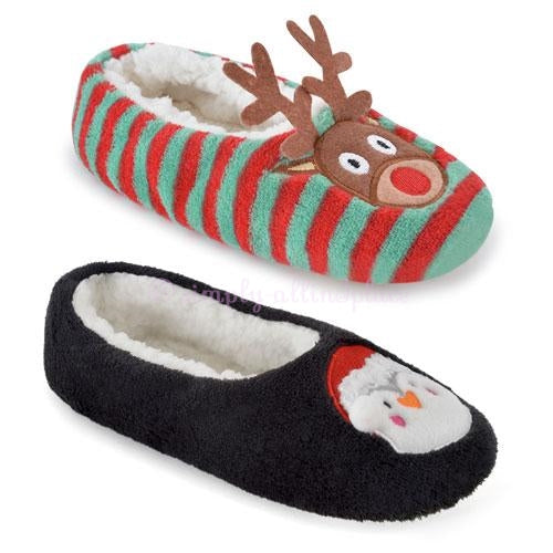 Ladies Soft Fleece Ballet Slippers Christmas Reindeer/Santa