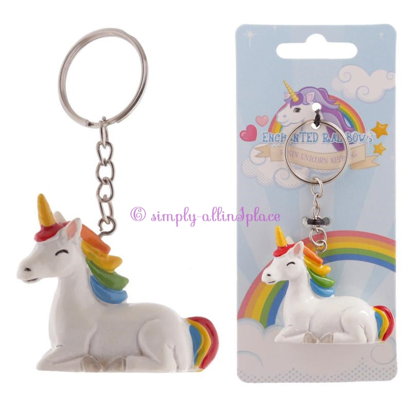 Novelty Keyring - Unicorn Rainbow