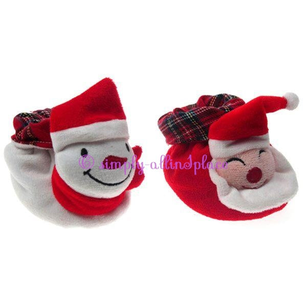 Velour Bootees w/Xmas Face by Soft Touch 0-6 mths
